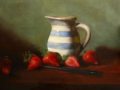 ©MelissaShelly2013  www.melissashelly.com  Strawberries and Cream by Melissa Shelly Oil ~ 11 x 14