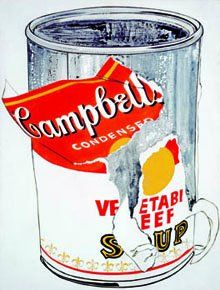 Big Torn Campbell's Soup Can (Vegetable Beef) (1962) by Andy Warhol, via Kunstmuseum