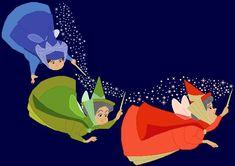 Flora, Fauna and Merryweather (Sleeping Beauty's fairy godmother's) Disney Magic, Walt Disney, Deco Disney, Disney Art, Disney Pixar, Disney Sidekicks, Disney Quiz, Sleeping Beauty Tattoo, Sleeping Beauty Fairies