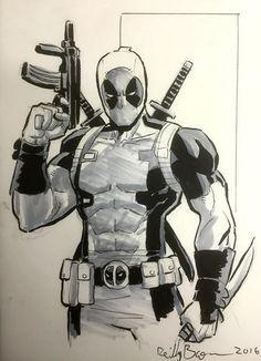 Deadpool, in Reilly Brown's Marvel Comic Art Gallery Room Comic Book Artists, Comic Book Characters, Comic Books Art, Comic Art, Deathstroke, Cartoon Sketches, Drawing Sketches, Marvel Drawings, Deadpool Drawings