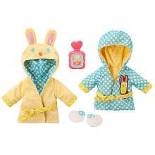 Baby Alive Bath Time Reversible Robe (MEDIUM) NEW 2012 by Hasbro. $26.49. Fits MOST Baby Alive Dolls EXCEPT My Baby Alive, My Real Baby and Real Surprises. Fuzzy slippers. Reversible Bunny Robe. Your baby will be so cuddly and warm after very bath in her fluffy bunny robe!  This cute little robe is reversible, so you have two designs from which to choose!