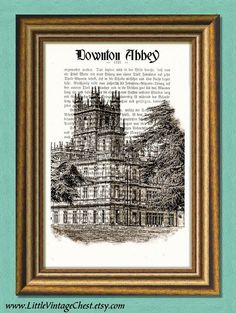 DOWNTON ABBEY MANSION  Dictionary art by littlevintagechest, $7.99