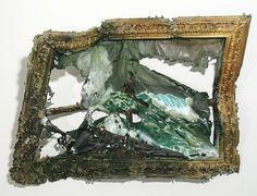 Valerie Hegarty Painting Valerie Hegarty creates unique works of art that look like burned, smashed, cracked, warped, melted, and damaged paintings. Talented artist makes extremely detailed replicas of famous masterpieces and then comes up with clever ways of destroying them.