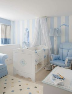 A besoke baby blue Dragons nursery boy A bedroom fit for a future king. Royal interior designers and London hotel create five-star nursery suite (a perfect home-from-home for the Baby of Cambridge) Baby Blue Nursery, Baby Boy Room Decor, Star Nursery, Baby Room Design, Baby Bedroom, Baby Boy Rooms, Nursery Design, Baby Boy Nurseries, Nursery Room