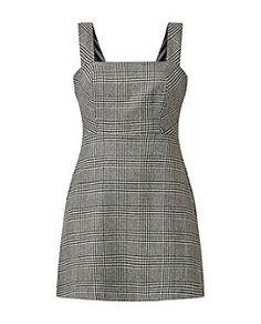 Black Check Pinafore Dress  | New Look