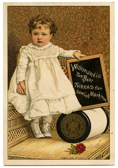 Vintage Graphic Image - Darling Toddler with Thread Spool - The Graphics Fairy