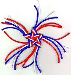 pentagonal stellar knot in red, white, and blue with cut ears