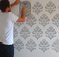 Damask Wall Stencil, Home Decor & Craft Stencil, Paint Pattern on Walls, Floors, Fabrics and Furnitu Damask Wall Stencils, Damask Decor, Wall Stencil Patterns, Wallpaper Stencil, Stencil Painting On Walls, Diy Wall Painting, Custom Stencils, Stencil Designs, Paint Designs