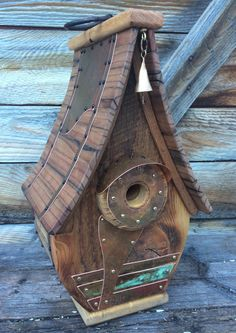 Unique Birdhouse Barnwood Recycled Handmade Gift Bell Tower