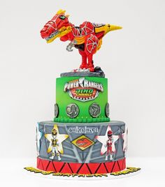 "32 Likes, 9 Comments - cakelava Las Vegas (@cakelava) on Instagram: ""We loved making this Power Rangers Dino Charge themed birthday cake for Sawyer's 4th Birthday…"""