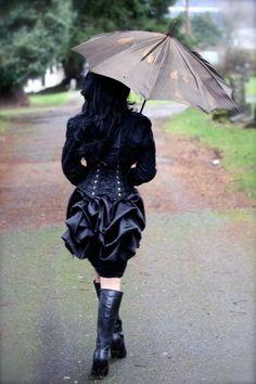 MINI Black SATIN Victorian Steampunk Mourning Bustle by Boudoir Noir. $45.99, via Etsy.