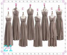 Grey Bridesmaid Dresses, Long Grey Chiffon Dress for Bridesmaid, Halter Bridesmaid Dress, Mismatch Bridesmaid Dress, Inexpensive Grey Dress