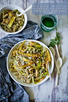 Beautiful Pasta with Shaved Carrots and Carrot Green Sauce by Playful Cooking Veggie Recipes, Pasta Recipes, New Recipes, Vegetarian Recipes, Healthy Recipes, Recipe Pasta, Healthy Foods, Carrot Greens, Fresh Pasta