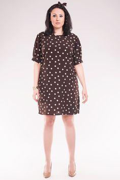 Luźna sukienka w groszki SIZE PLUS - SoleilPolska - Sukienki dla puszystych