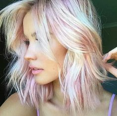 Pinterest: /Mer_Elise/ • Gorgeous platinum blonde with cotton candy pink lowlights More