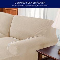 Ebern Designs L-Shaped Right 2 Piece Box Cushion Sofa Slipcover Set & Reviews | Wayfair Sectional Couch Cover, Couch Covers, Cushions On Sofa, Cushion Covers, L Shaped Sofa, Box Cushion, Grid Design, Slipcovers, Separate