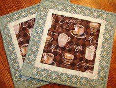 Coffee Themed Mug Rugs  Place Mats  Coasters  Pair by susiquilts, $19.00