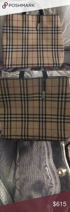 Burberry Nova Check large tote 100% Authentic Classic Nova Check Coated Check Tote . Features black leather handle straps.  Inside is Burberry printed woven nylon. Also has a large zippered pocket w a leather logo fob. Magnetic closure. Corners have minimal wear. This is a classic tote that can be used for many occasions and really matches w everything. What's also great about this bag is easy to clean due to the coated outside. Also features a large rectangular heavy Burberry logo toggle…