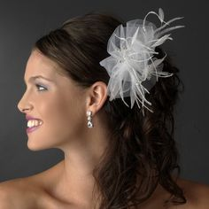 Luxurious White or Ivory Tulle & Feather Bridal Comb w/ Austrian Crystals 3201