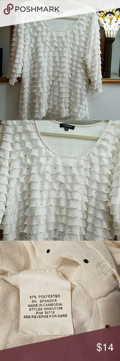 NOTATIONS Womens ruffled White blouse,Very nice for the holiday with gold sequins,had in my closet hardly used has 3% spandex gives it stretch,GUC Tops Blouses