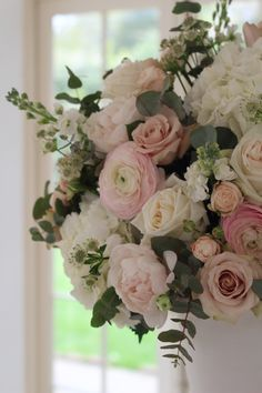 Creators of bespoke flower and styling schemes for weddings and events showcased at venues across Surrey,Hampshire & Berkshire Peonies Wedding Centerpieces, Peonies Centerpiece, Wedding Decorations, Hortensien Arrangements, Peony Rose, Church Flowers, Special Flowers, Rose Wedding, Wedding Things