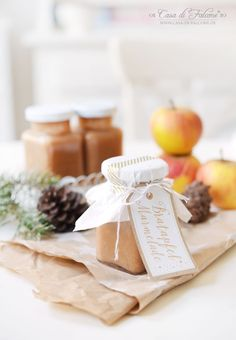 Bratapfelmarmelade Rezept I Winterküche I Geschenke aus der Küche I Marmeladenaufkleber I Casa di Falcone