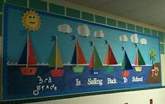 """Sailing Back to School!"" Classroom Bulletin Board Idea ""Sailing Back to School!"" Bulletin Board — I might do this outside my classroom… I'm going to be using a nautical theme in the learning center this year. Summer Bulletin Boards, Teacher Bulletin Boards, Back To School Bulletin Boards, Preschool Bulletin Boards, Bulletin Board Display, Bullentin Boards, Nautical Bulletin Boards, Sailing Bulletin Board, Display Boards"