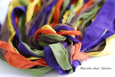 Silk Ribbons Autumn Fun Palette Silky and Fairy Ribbons via Etsy