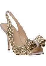Kate Spade Charm Slingback Pump Platinum Glitter  - Jildor Shoes, Since 1949