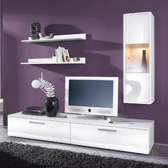 composition murale design blanc laqué/noyer pablo | tvs ... - Meuble Tele Suspendu Design