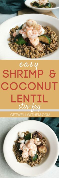 An Easy Shrimp and Coconut Lentil Stir-Fry with Fall Vegetables. Perfect for fall, packed with protein, and a quick weeknight meal!