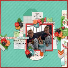Enjoy Every Moment, Digital Scrapbook Layout I Created using Lovely Day bundle by Pixelily Designs, part of the October Gotta Grab It event at Gotta Pixel. I love the templates, the bright colors and happy elements in this bundle.