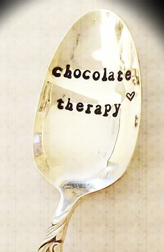 Hand stamped vintage Chocolate Therapy spoon by OldsCoolDesigns, $13.50