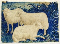 Scene of Three Sheep  Fragment of a large tapestry hanging, probably a verdure, with scene of three sheep, half life size, one sitting, on a background of different kinds of grasses, with a few red flowers. Wool weft on wool warp, 21 warps to the inch. Flemish, circa 1700
