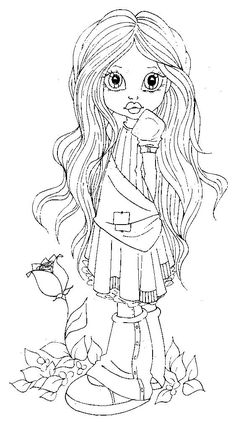 Cute country girl by artist Krista Smith, aka Saturated Canary Coloring Pages For Girls, Colouring Pics, Coloring Book Pages, Coloring Sheets, Digital Stamps Free, Copics, Printable Coloring, Line Drawing, Bunt