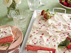 """Strawberries-and-Cream Sheet Cake Trust us: This simple and swoon-worthy sheet cake will be a keeper in your recipe box. File it under """"Springtime Crowd-pleaser."""" Recipe: Strawberries-and-Cream Sheet Cake Spring Desserts, Just Desserts, Delicious Desserts, Dessert Recipes, Easter Recipes, Cupcake Recipes, Pie Recipes, Strawberry Sheet Cakes, Strawberry Cake Recipes"""