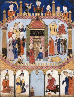 فالنامه آقامیرک، عبدالعریز قزوین Falnama Scène à la Ka'ba de la Mecque Aqa Mirak 'Abd ul'Aziz Style Qazwin Scène à la Ka'ba de la Mecque, Vers 1550-1560 Feuille: 590 x 445 mm (miniature) Encre noire, gouache et or sur papier