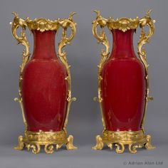 A Fine and Large Pair of Louis XV Style Gilt-Bronze Mounted Sang-de-Boeuf Glazed Porcelain Vases. French & Chinese, Circa 1890. #adrianalan #vase # antique