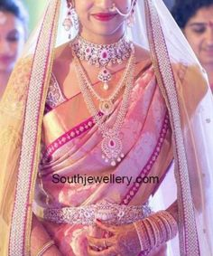 Bridal Saree South Indian Telugu Wedding Ideas For 2019 Bridal Sarees South Indian, South Indian Bridal Jewellery, Bridal Silk Saree, South Indian Weddings, Indian Bridal Wear, Indian Jewellery Design, Bridal Lehenga, Gold Jewellery, Jewellery Designs