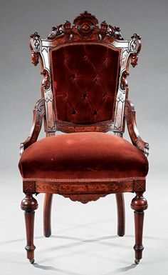 ~ Carved and Burl Walnut Parlor Suite attr. Jelliff ~ liveauctioneers.com