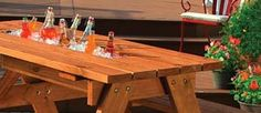 Picnic Table with Built In Cooler .....could be a flower box too
