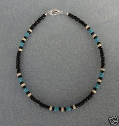 Blue Turquoise Black Anklet,Ankle Bracelet Native Made
