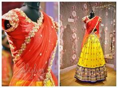 Go Traditional. Beautiful yellow ikkat lehenga and red color designer blouse with hand embroidery zardosi work. STYLUS DRESS 223.Get styled traditionally this festive season..For Order/details : 9247663022Mail: stylus.qak@gmail.com 28 July 2017