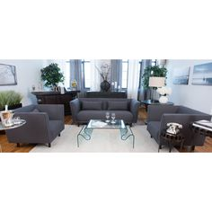 Elements Fine Home Furnishings Manhattan 3-Piece Set Including Sofa and 2 Standard Chairs In Concrete