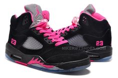 Air Jordan 5 V Retro GS Black Suede Pink Reflective Silver c2e224c12
