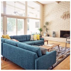 Hopson Corner Sectional piece) - - Joybird Hopson Corner Sectional piece) from Lauren D. Blue Couch Living Room, Living Room Turquoise, Living Room Sectional, Blue Sectional, Furniture Layout, Living Room Furniture, Living Room Decor, Living Area, Modern Furniture