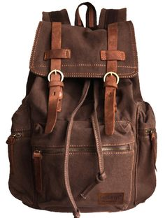 """Vintage School Hiking Outdoor - 17"""" padded Laptop compartment #serbags #canvasbackpack #canvasleatherbag"""