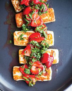 Grilled Halloumi Cheese with Strawberries and Herbs from Vibrant Food cookbook {giveaway}. I've never had cheese grilled like this. Looks lovely! - It's hard to serve the cheese very hot but it was good. I used Thai bird chile. Banting Recipes, Vegetarian Recipes, Healthy Recipes, Lunch Recipes, Tapas, Herb Recipes, Cooking Recipes, Cheese Recipes, Appetizer Recipes