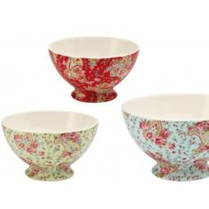 Paisley soup bowls in red, green & blue.  So pretty!  $21.27 US