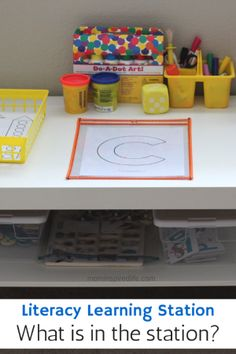 Last week I wrote a post about how I set up a literacy learning station. Today I will share what supplies and manipulatives are in our learning station.